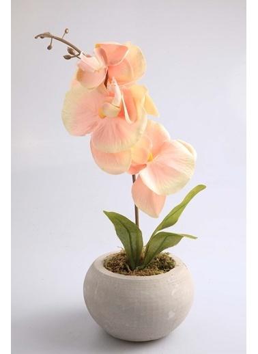 Kibrithane Çiçek Yapay Çiçek Beton Saksı  Somon Kumaş Orkide Kc00200806 Renkli